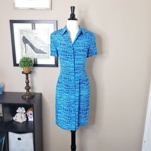Adrianna Papell ~ Blue Snakeskin Button Down Dress